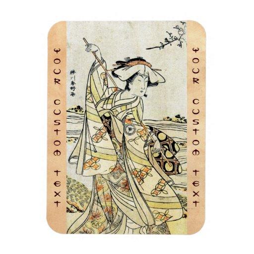 Geisha japonés fresco de la voluta del ukiyo-e del iman de vinilo