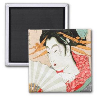 Geisha japonés fresco del woodprint con arte de la imán cuadrado