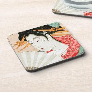 Geisha japonés fresco del woodprint con arte de la posavasos