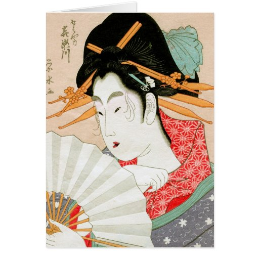 Geisha japonés fresco del woodprint con arte de la tarjeta pequeña