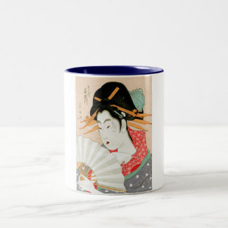 Geisha japonés fresco del woodprint con arte de la taza dos tonos