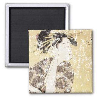 Geisha japonés imán cuadrado