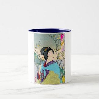 geisha japonés oriental fresco de la obra clásica taza dos tonos