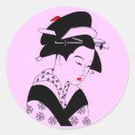 Geisha japonés pegatinas redondas