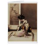 Geisha japonés que juega el shamisen tarjeta de felicitación