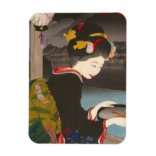 Geisha japonés tradicional fresco de la obra clási imán de vinilo
