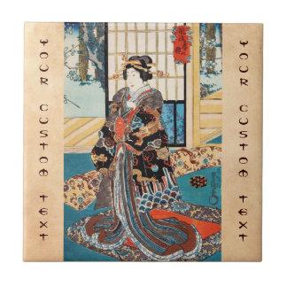Geisha japonés Utagawa del ukiyo-e clásico del vin Azulejos