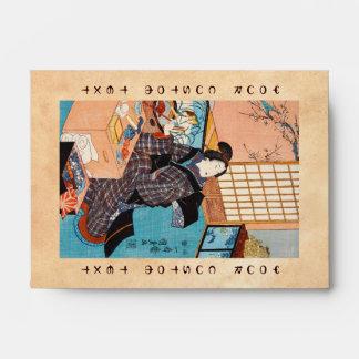 Geisha japonés Utagawa del ukiyo-e clásico del vin