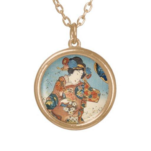 Geisha japonés Utagawa del ukiyo-e del vintage clá Colgante Redondo