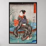 Geisha japonés Utagawa del ukiyo-e del vintage clá Póster