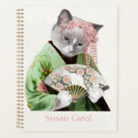 "Geisha Kitten Spiral Weekly/Monthly Planner<br><div class=""desc"">Konnichiwa!  Our kitten is wearing a kimono to celebrate Japanese culture,  and will help you keep track of your appointments.  Ready to be personalized,  this cute planner is perfect for work,  school,  etc.</div>"