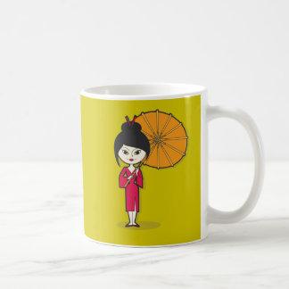 Geisha Lady cartoon on a green background Coffee Mug