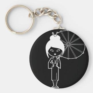 Geisha Lady white on black Basic Round Button Keychain