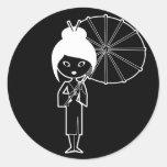 Geisha Lady white on black Round Sticker