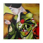 Geisha lindo con arte verde de la original del kim teja
