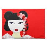 Geisha lindo con las flores - rojo manteles
