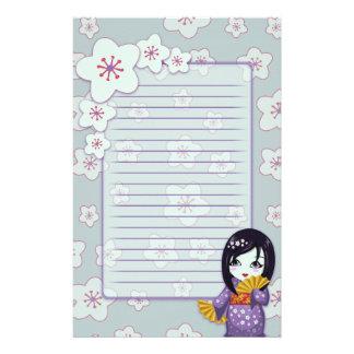 Geisha lindo púrpura y flores de cerezo azules ali papelería de diseño