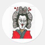 ¡geisha loco! pegatinas redondas