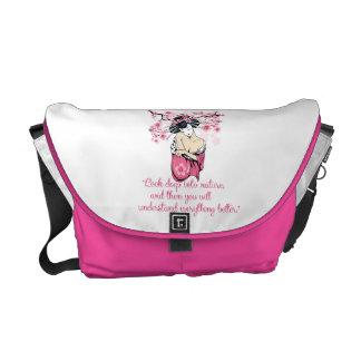 Geisha - nature quote messenger bags