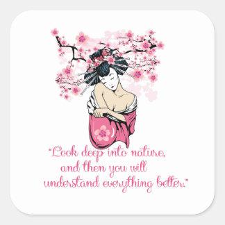 Geisha - nature quote square sticker