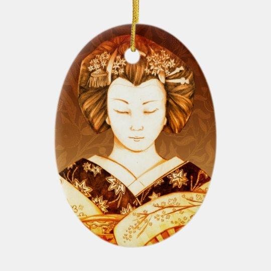 Geisha Ojos Cerrados Ceramic Ornament