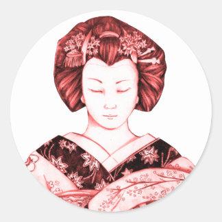 Geisha Ojos Cerrados Pegatina Classic Round Sticker