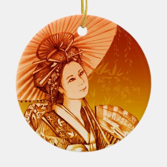 Geisha Parasol Ceramic Ornament