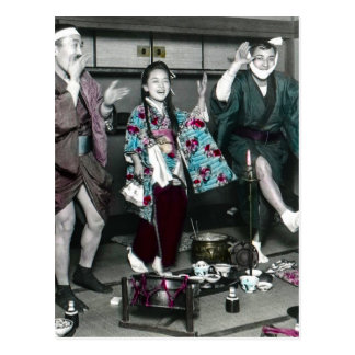 Geisha Party Time in Old Japan Vintage Japanese Postcard