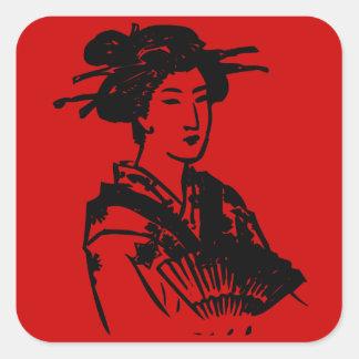 Geisha Pegatina Cuadrada