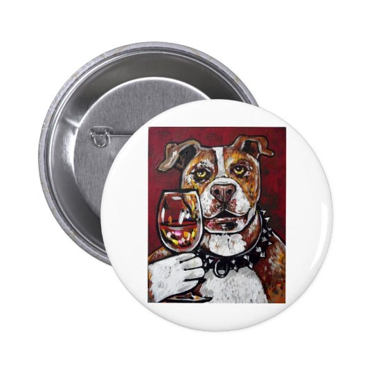 Geisha pitbull wine pinback button
