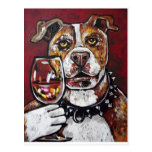 Geisha pitbull wine postcard