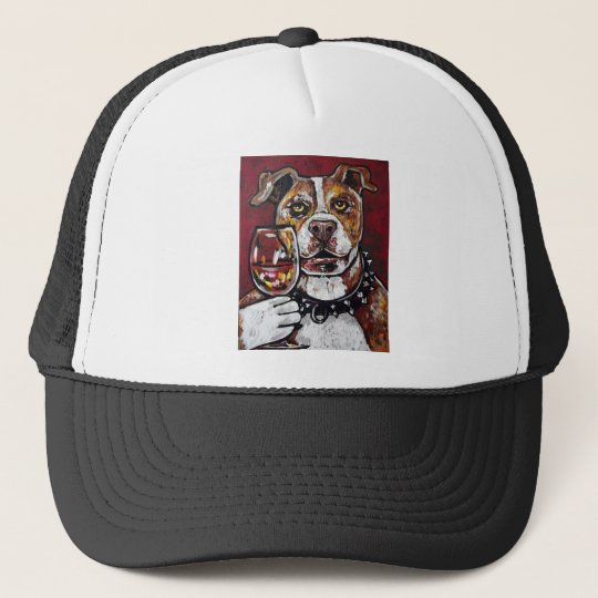 Geisha pitbull wine trucker hat
