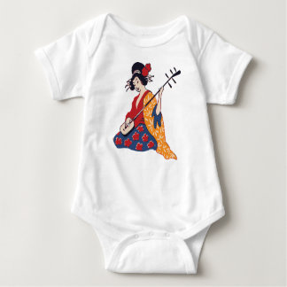 Geisha Playing A Shamisen Baby Bodysuit