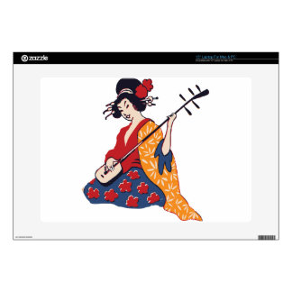 geisha playing instrument decal for laptop