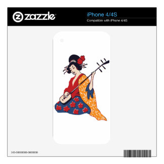 geisha playing instrument decals for iPhone 4
