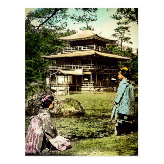 Geisha Posing at Kinkaku-ji Golden Temple Japan Postcard
