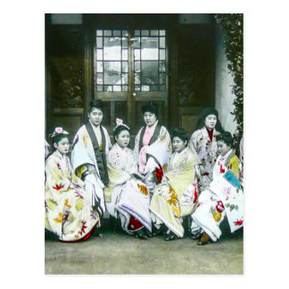 Geisha Posing by Brothel Vintage Glass Slide Postcard