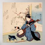 Geisha que adapta una impresión del japonés del póster