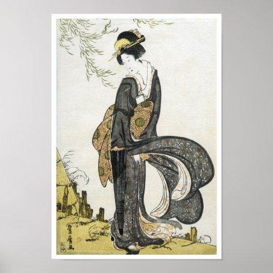 Geisha Standing in the Wind, Toyohiro, 1805 Poster