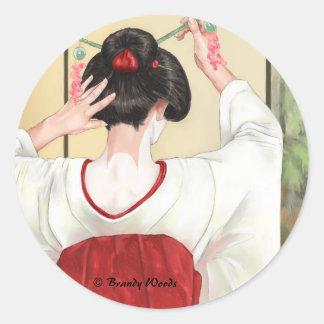 Geisha Round Stickers