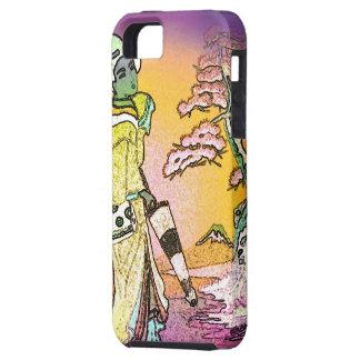 Geisha susurrante (púrpura salvaje/verde) - caso iPhone 5 protectores