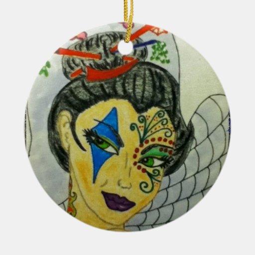 Geisha tatuado enrrollado galón de la diversión adorno para reyes
