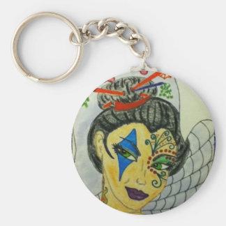 Geisha tatuado enrrollado galón de la diversión llavero redondo tipo pin