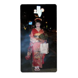 Geisha Tokio nea de Asakusa Etiqueta De Envío
