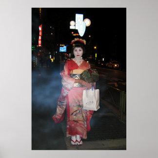Geisha Tokio nea de Asakusa Póster