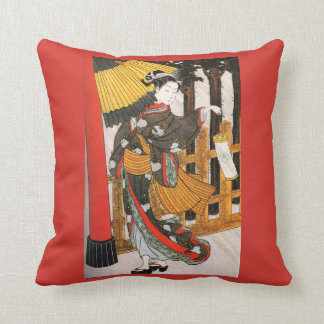 Geisha Umbrella And Lantern Asian Art Throw Piullo Throw Pillow