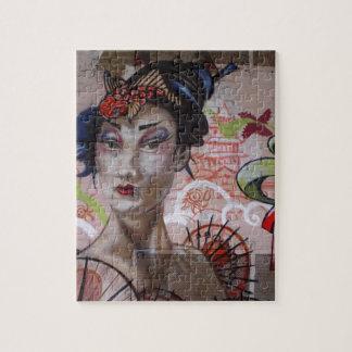 Geisha Urban Graffiti Street Art Jigsaw Puzzles