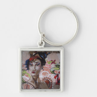 Geisha Urban Graffiti Street Art Key Chain