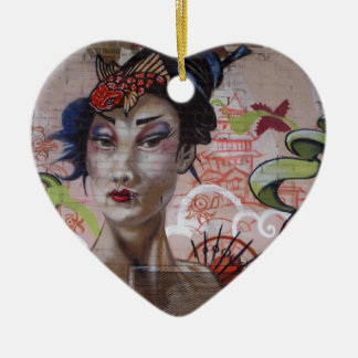 Geisha Urban Graffiti Street Art Christmas Tree Ornament