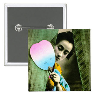 Geisha with a Paper Fan Vintage Old Japan Button